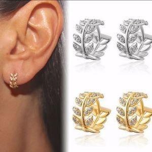 Jewelry - Tiny Huggie Leaf Crystal Hoop Earrings